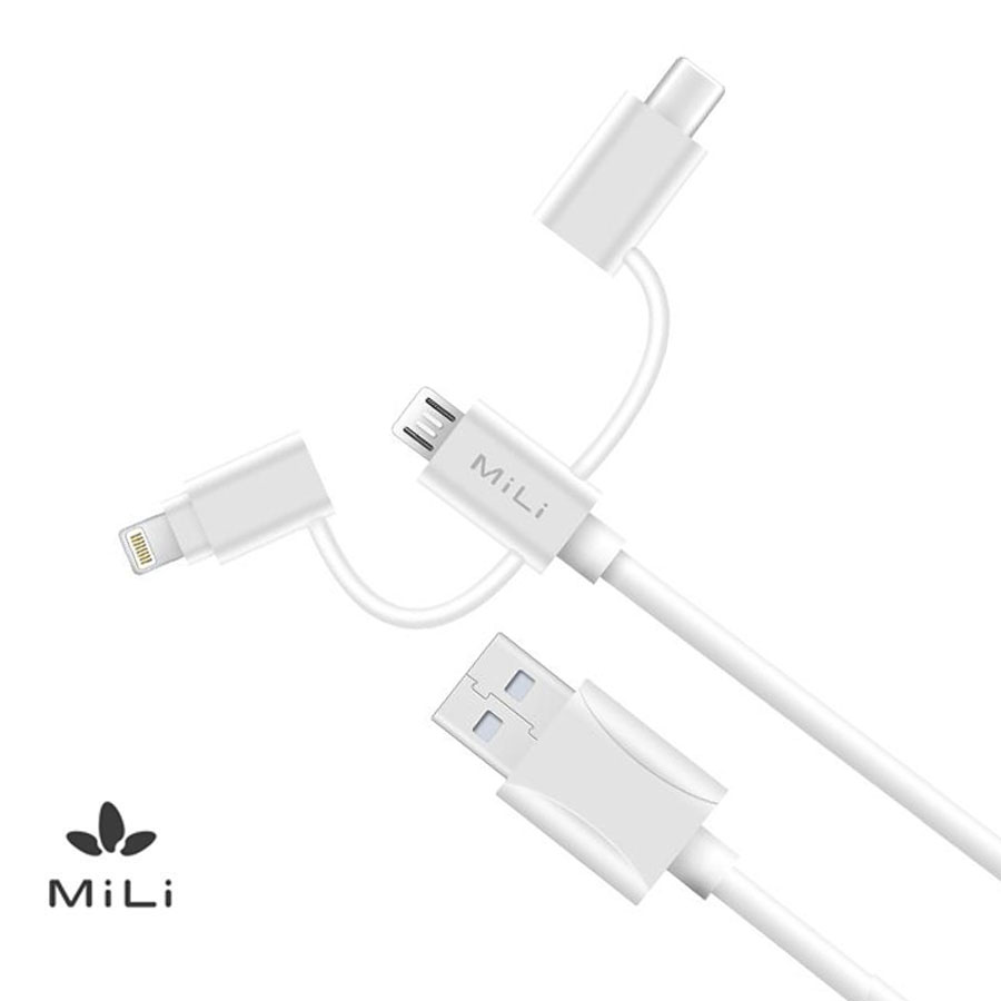 Data Cable MICRO USB + 8 PIN + TYPE C (3 IN 1)