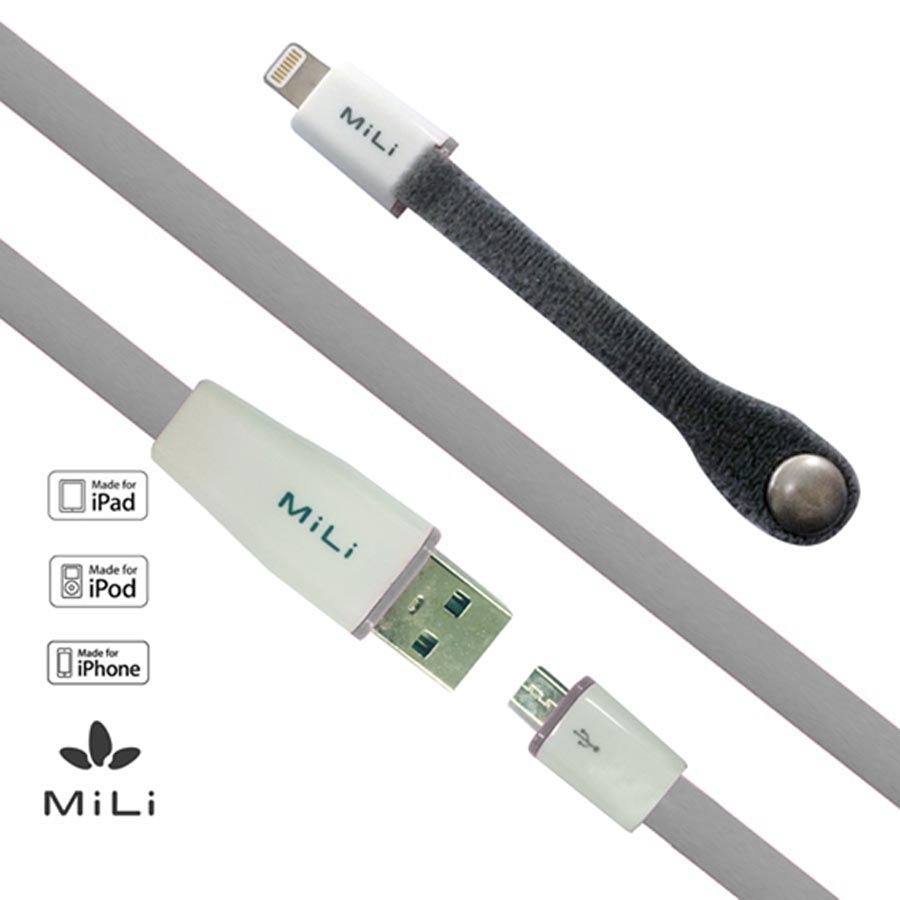 Data Cable MICRO USB FLAT + 8 PIN (2 IN 1)